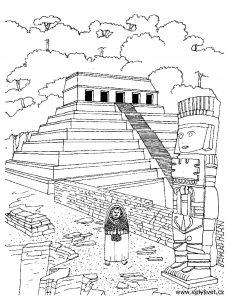 Templo azteca para colorear